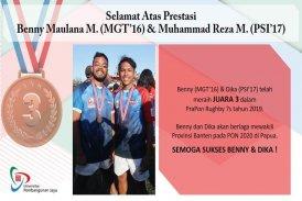 Reza Mahardika menjadi juara 3 rugby Pra PON 19
